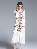 זול שמלות נשים-מעל הברך דפוס, צבעים מרובים - שמלה גזרת A בגדי ריקוד נשים