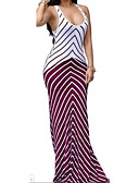 cheap Women's Dresses-Women's Beach Holiday Boho Bodycon Sheath Dress - Striped High Rise Maxi U Neck