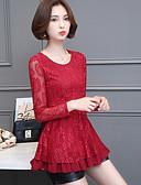 hesapli Kadın Üstleri-Kadın's Klasik Stil, Tek Renk Bluz