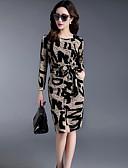 זול שמלות נשים-עד הברך דפוס, אותיות - שמלה נדן כותנה מידות גדולות מתוחכם בגדי ריקוד נשים / אביב / סתיו