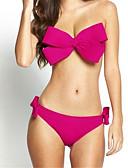 billige Bikinier og bademode-Dame Bandeau Stropløs Lyserød Gul Rosa Bandeau Underbukser Bikini Badetøj - Ensfarvet Sløjfer M L XL / Super Sexy