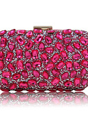 cheap Cocktail Dresses-Women's Bags Polyester Evening Bag Sequin / Crystal / Rhinestone Black / Silver / Fuchsia