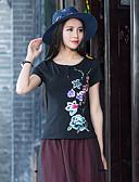 billige Topper til damer-Polyester T-skjorte - Blomstermønster Dame