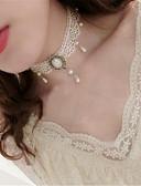 billige Lolitakjoler-Choker Halskjede Anheng Halskjede Imitert Perle Elegant Vintage Inspireret Hvit Ensfarget Halskjede polyester Metall kostymer