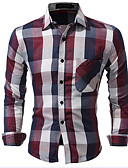 cheap Men's Shirts-Men's Cotton Shirt - Plaid Classic Collar / Long Sleeve