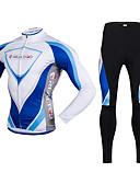 tanie Kwarcowy-Realtoo Męskie Długi rękaw Koszulka i spodnie na rower - Niebieski / Biały Rower Zestawy odzieży, Polarowa podszewka, Oddychający, Wkładka 3D, Keep Warm, Szybkie wysychanie, Zima, Poliester, Lycra