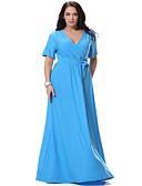 baratos Vestidos Femininos-Mulheres Tamanhos Grandes Boho Algodão balanço Vestido Sólido Decote em V Profundo Longo