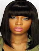 halpa Morsiusneitojen mekot-Remy-hius Lace Front Peruukki Suora Peruukki 120% / 130% Luonnollinen hiusviiva / Afro-amerikkalainen peruukki / 100% käsinsidottu Naisten Lyhyt / Keskikokoinen / Pitkä Aitohiusperuukit verkolla