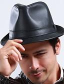رخيصةأون قبعات نسائية-قبعة الدلو سادة PU للرجال
