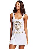 ieftine Tricou-Pentru femei Floral Alb Negru Bikini cu Șnur Șal Costume de Baie - Multicolor / Imprimeu reactiv / Sexy Imprimeu, Bumbac S M L