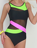 cheap One-piece swimsuits-Women's Strap Green Red Underwire Cheeky One-piece Swimwear - Striped Color Block Basic M L XL Green