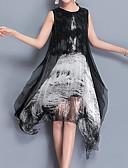 baratos Vestidos de Mulher-Mulheres Tamanhos Grandes Para Noite balanço Vestido - Estampado Altura dos Joelhos