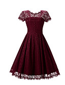cheap Women's Dresses-Women's Work Vintage / Sophisticated Swing Dress - Solid Colored / Lace