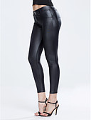 voordelige Damesleggings-Dames PU Legging - Effen Medium Taille