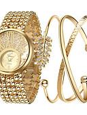 baratos Relógios da Moda-Mulheres Relógio de Pulso Quartzo Legal Aço Inoxidável Banda Analógico Amuleto Luxo Brilhante Dourada - Cor Ecrã