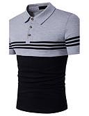 baratos Pólos Masculinas-Homens Polo - Esportes Activo Listrado Estampa Colorida Algodão Colarinho de Camisa