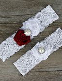 cheap Women's Lingerie-Chiffon Lace Satin Fashion Wedding Garter with Lace Flower Garters