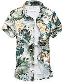 baratos Camisas Masculinas-Homens Camisa Social - Praia Boho Estampado, Floral Algodão Colarinho Clássico Delgado / Manga Curta