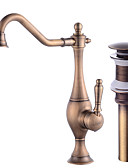 baratos Aço Inoxidável-Faucet Set - Separada Rotativo Cobre Envelhecido Conjunto Central Monocomando e Uma Abertura