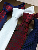 cheap Men's Ties & Bow Ties-Men's Party / Work / Basic Polyester Necktie Print / Cute / Silver / White / Red / Blue