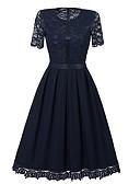 tanie Sukienki-Damskie Wyrafinowany styl Spodnie - Solidne kolory Czarny, Koronka Granatowy / Wyjściowe