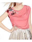 abordables Jerséis de Mujer-Mujer Simple Algodón Camiseta Estampado