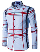 cheap Men's Blazers & Suits-Men's Active Shirt - Striped Standing Collar