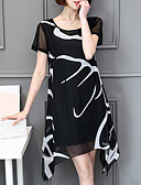 baratos Vestidos de Mulher-Tamanhos Grandes Chifon Vestido - Estampado, Gráfico Acima do Joelho Branco