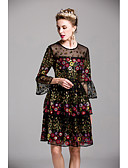cheap Women's Dresses-Women's Cute Flare Sleeve Sheath Dress - Embroidered