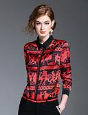 baratos Tops Femininos-Mulheres Camisa Social Estampado Colarinho de Camisa