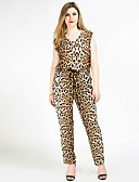 cheap Women's Jumpsuits & Rompers-Really Love Women's Plus Size Vintage Jumpsuit - Leopard, Knitting Sexy V Neck