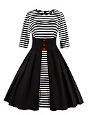 cheap Women's Dresses-Women's Going out Vintage Butterfly Sleeves Cotton Swing Dress - Striped Pleated