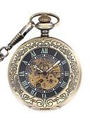Недорогие Карманные часы-Муж. Часы со скелетом Карманные часы Механические часы Кварцевый Механические, с ручным заводом Нержавеющая сталь Бронза Аналоговый Steampunk - Черный