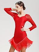 זול שמלות נשים-ריקוד לטיני שמלות בגדי ריקוד נשים הצגה ספנדקס שרוול ארוך טבעי שמלה