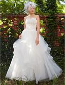 preiswerte Hochzeitskleider-Prinzessin Trägerlos Boden-Länge Tüll Maßgeschneiderte Brautkleider mit Perlenstickerei / Applikationen durch LAN TING BRIDE®