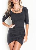olcso Női ruhák-Női Parti / Alkalmi Pamut Bodycon Ruha Egyszínű Mini Mély-U Fekete