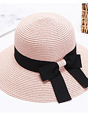 cheap Fashion Hats-Women's Vintage Cute Party Work Straw Hat Sun Hat - Patchwork