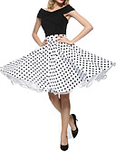 cheap Women's Skirts-Maggie Tang Women's Street chic A Line Skirts - Polka Dot Pleated