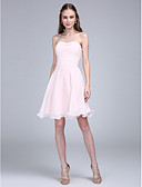 cheap Bridesmaid Dresses-A-Line Spaghetti Strap Knee Length Chiffon Bridesmaid Dress with Ruched by LAN TING BRIDE®