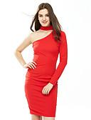 זול שמלות נשים-כתפיה אחת עד הברך אחיד - שמלה נדן כותנה מועדונים בגדי ריקוד נשים