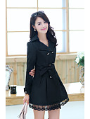 cheap Women's Coats & Trench Coats-Women's Basic Cotton Trench Coat - Solid Colored, Lace / Winter