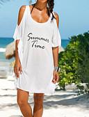 رخيصةأون ملابس السباحة والبيكيني 2017 للنساء-حجم واحد قطن طباعة أحرف, ملابس السباحة تغطية الجسم أبيض أسود أرجواني نسائي