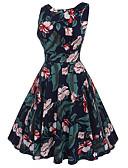 levne Dámské šaty-Dámské Vintage Šik ven Swing Šaty - Květinový Délka ke kolenům
