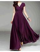 preiswerte Damen Kleider-Damen Kleid Solide Maxi V-Ausschnitt