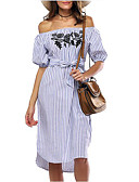 cheap Women's Blouses-Women's Embroidery Holiday / Going out Street chic Dress - Striped Embroidered Off Shoulder Summer Blue M L XL