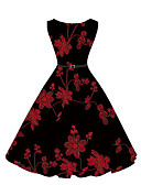 cheap Women's Dresses-Women's Holiday Vintage / Street chic Swing Dress - Embroidered