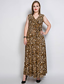 cheap Women's Dresses-Women's Plus Size Cotton Swing Dress - Solid Colored / Leopard Maxi V Neck
