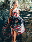 رخيصةأون فساتين مطبوعة-فستان نسائي قياس كبير متموج النمط الصيني بدون ظهر طويل للأرض ورد مع حمالة مناسب للخارج / شاطئ