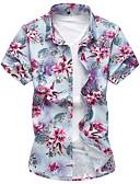 baratos Camisas Masculinas-Homens Camisa Social - Praia Activo Flor, Floral Algodão / Manga Curta