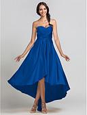 Χαμηλού Κόστους Φορέματα Παρανύμφων-Ίσια Γραμμή Καρδιά Ασύμμετρο Ελαστικό Σατέν Φόρεμα Παρανύμφων με Χάντρες / Που καλύπτει / Χιαστί με LAN TING BRIDE® / Ανοικτή Πλάτη